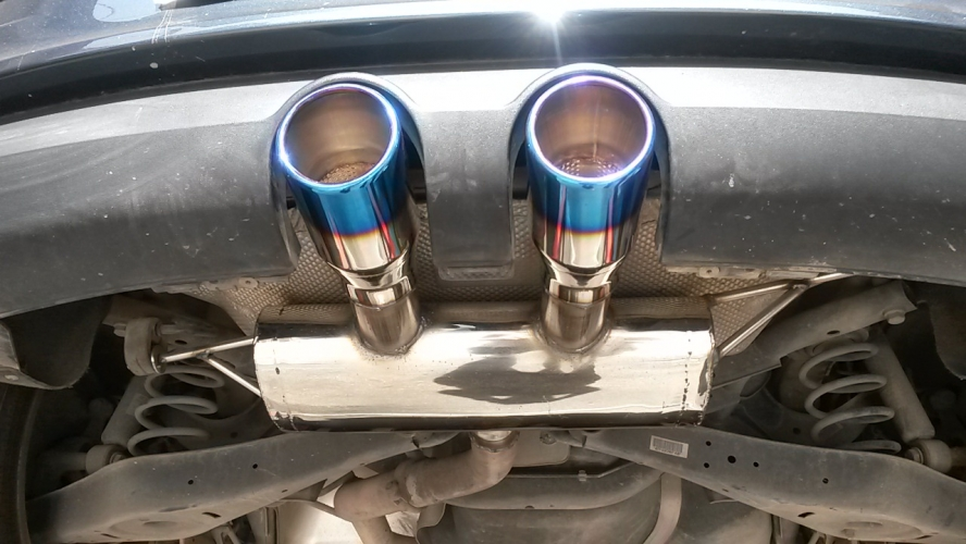 Rear muffler with Titanium Exhaust Tips - exhaust - catalytic