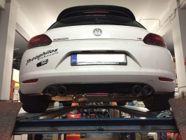 VW SCIROCCO 1.4 TSI  Turboback exhaust with 4 carbon exhaust tips